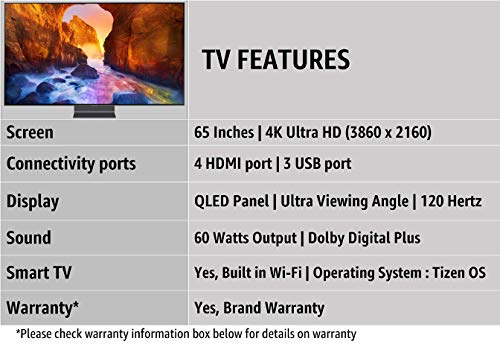 Samsung 163 cm (65 Inches) 4K Ultra HD Smart QLED TV QA65Q90RAKXXL (Black) (2019 model)