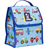 Wildkin Lunch Bag, Insulated, Water Resistant, Easy to Clean and Folds Flat Making Storage That Much Easier, Ages 3+, Perfect for Kids & On-The-Go Parents, Olive Kids Design - Trains, Planes & Trucks