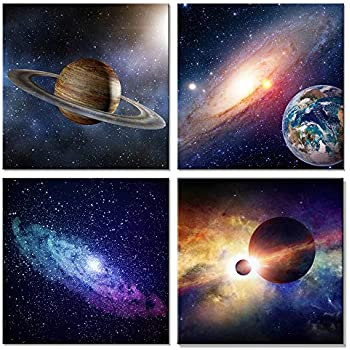 Wieco Art Star Sky Space Canvas Paintings Wall Art Large Modern 4 Piece Universal Magic Power Astronomy Pictures Artwork Stretched and Framed Giclee Canvas Prints for Living Room Home Decor