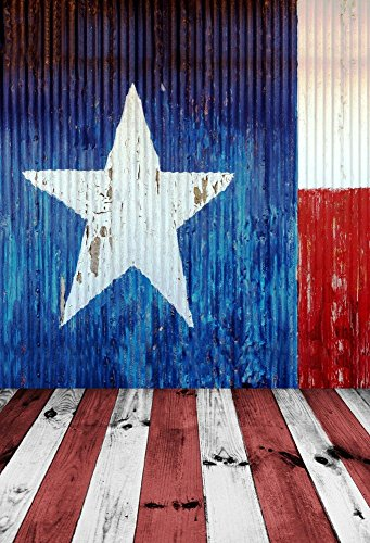 Baocicco Texas Flag Barn Backdrop 5x7ft Cotton Polyester Photography Backgroud USA State Flag Banner National Symbol White Star Blue Wall White and Red Dirty Wood Floor Backgroud Independence Day -