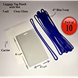 "QTY: 10 - 5 mil Luggage Tag Laminating Pouch w/ slot Vertical 2 1/2"" x 4 1/4"" with 6"" Plastic Loop (Blue)"