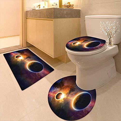 Printsonne 3 Piece Toilet mat Set Decor Planet in Milky Way Dark Nebula Gas Cloud Celestial Solar Eclipse Galaxy 3 Piece Shower Mat Set by Printsonne