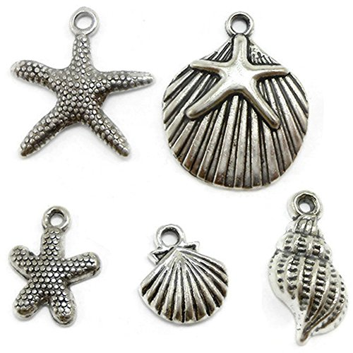 CrazyPiercing 30 Starfish, Seashell Charms Lot silver tone (30 PCS)