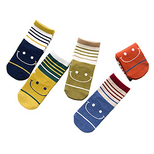 (FQIAO Children Socks 1-3 Years Cotton 5 Packs Stripe Colorful Boy Girl Thick Sock S Size Winter Autumn)