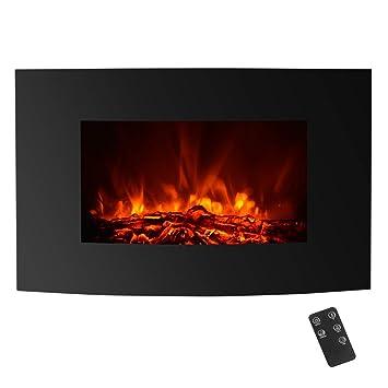 Chimenea Eléctrica Incrustada con Temporizador y Termostato para la Calefacción y Decoración - 1800W/900W - Llama de Carbón - Color Negro IKAYAA: Amazon.es: ...