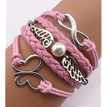 Ac Union ACUNION™ Handmade Infinity Angel Wings Butterfly Charm Friendship Gift Leather Bracelet