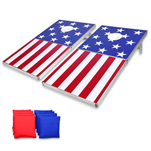 GoSports Cornhole PRO Regulation Size Bean Bag Toss Game Set | American Flag Design