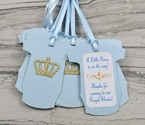 Little Prince Bodysuit Baby Shower Party Favor Gift Tags - Set of 12