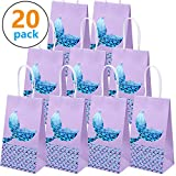 20 Packs Mermaid Party Bags Mermaid Gift Bags Paper Bags Mermaid Party Supplies Goodie bags Glitter Treat Bags for Kids Mermaid Themed Party