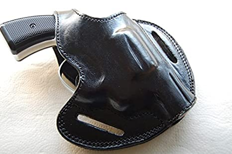 cal38 Handcrafted Leather Belt Holster for colt,Smith Wesson 38 Special  Snub Nose (RH) Tan Black