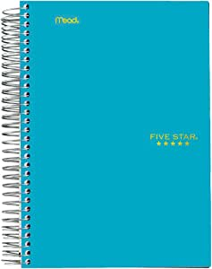 "Five Star Spiral Notebook, 1 Subject, College Ruled Paper, 100 Sheets, 7"" x 5"", Personal Size, Teal (45484AA4)"