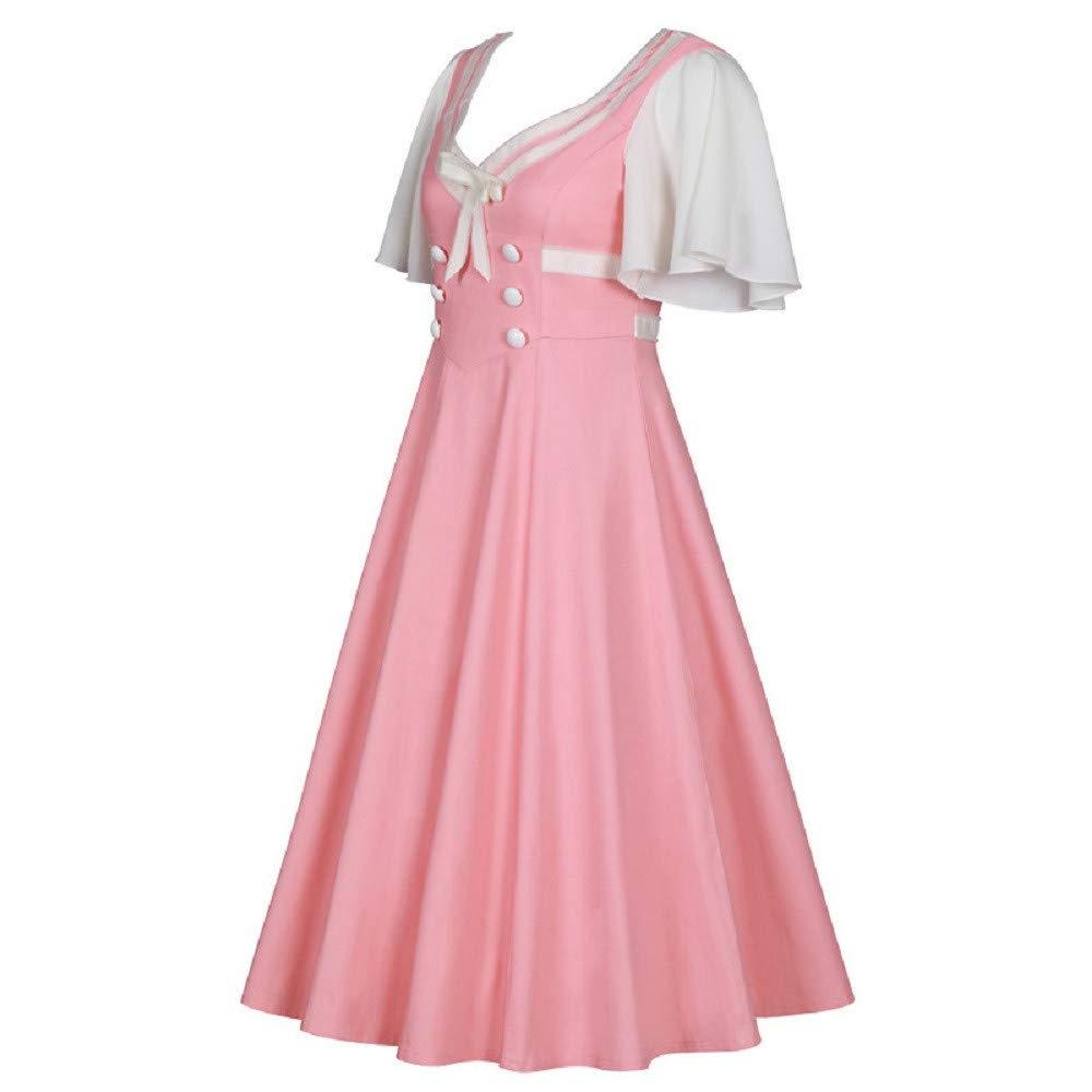 Women Button Contrast Dress, NDDGA Schoolgirl Uniform Short Sleeve Large Sleeve Dress