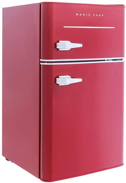 Amazon Com Magic Chef Retro Mini Refrigerator 3 2 Cu Ft 2 Door Fridge In Red Appliances