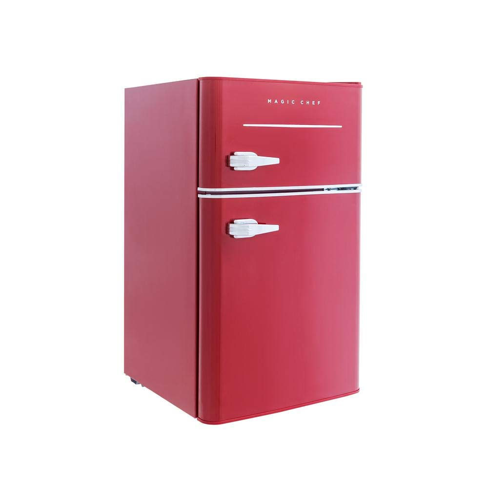 Magic Chef Retro Mini Refrigerator 3.2 cu. ft. 2-Door Fridge in Red