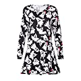AMSKY Dress Plus Size,Women Long Sleeve Fetch Halloween Printing Evening Prom Costume Swing Dress,Fashion Hoodies & Sweatshirts,Multicolor,XL
