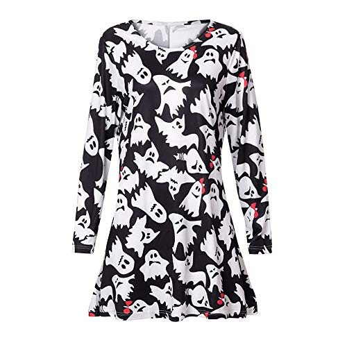 Hot Sales,DEATU Halloween Womens Dresses Ladies Teen Long Sleeve Fetch Printing Evening Prom Costume Swing Dress(Multicolor,M) -