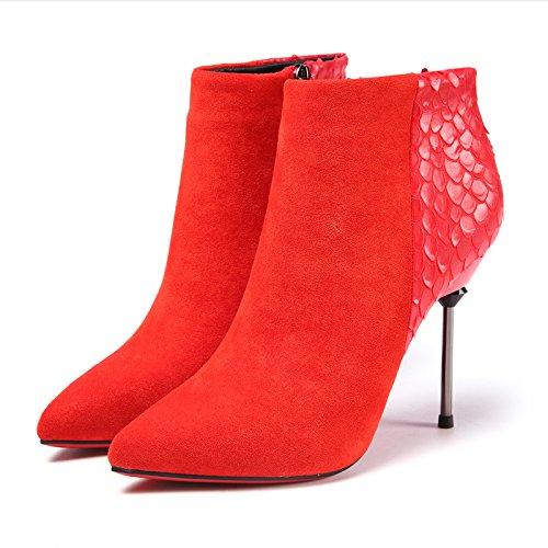 KHSKX-Die Entwicklung Der Neuen Frauen - Stiefel Sagte Ferse Und Kurze Stiefel Modischen Rot - Super - High - Heels Martin Stiefel gules