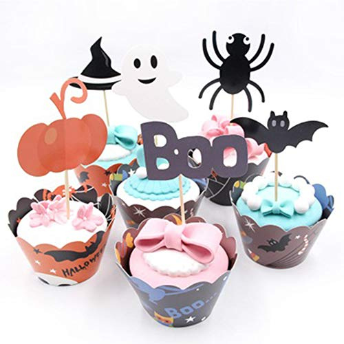 Cupcake Toppers Kit,Halloween Party Decorations Ghost, Pumpkin, Spider, Bat, Skeleton,BOO Cupcake Toppers for Halloween Party (24 -