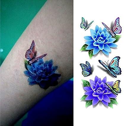 Oottati Tatuajes Temporales 3D Flor De Mariposa (2 hojas): Amazon ...