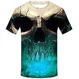 Allywit Skull T Shirt Skeleton T-Shirt Gun Tshirt Gothic Shirts Punk Tee 3D t-Shirt Anime Male Styles Green