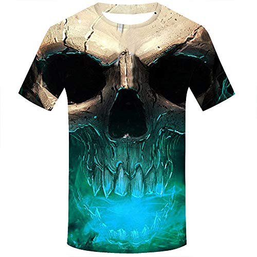 Allywit Skull T Shirt Skeleton T-Shirt Gun Tshirt Gothic Shirts Punk Tee 3D t-Shirt Anime Male Styles Green by Allywit-Mens