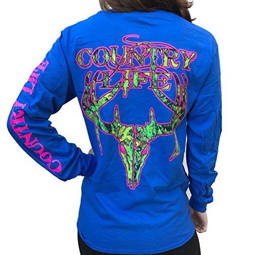 Country Life Camo Deer Skull Royal Blue and Pink Long Sleeve Shirt