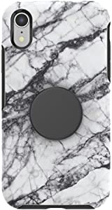Otter + Pop for iPhone XR: OtterBox Symmetry Series Case with PopSockets Swappable PopTop - White Marble and Aluminum Black