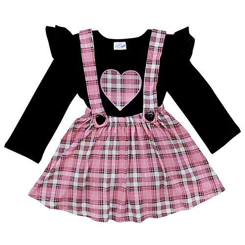 So Sydney Suspender & Skirt 2 Piece Outfit, Girls Toddler Winter & Spring Holiday Dress Up Boutique Outfit (7, Pink Plaid Heart) ()