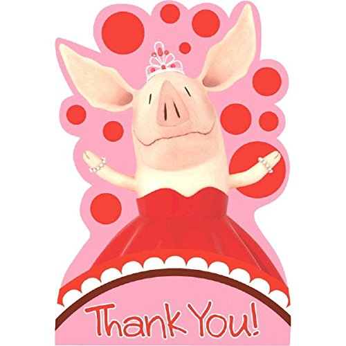 Amscan Dainty Olivia Birthday Party Postcard Thank You Cards Supply (8 Pack), 4 1/4
