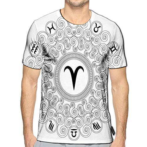3D Printed T-Shirts Round Geometric Mandala with Zodiac Symbol of Aries Adult Coloring Book Short Sleeve Tops Tees b