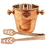 IndianArtVilla 5.5'' X 5.0'' Steel Copper Ice Bucket Ice Pot 1000 ML with Steel Ice Holder - Storage & Serving Ice Cube Home Hotel Restaurant Bar Tableware