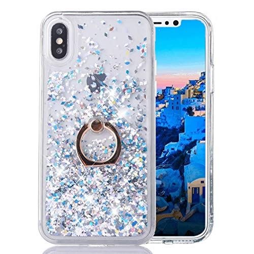 - iPhone Xs MAX Liquid Case Glitter Cover Fashion Luxury Sparkling Liquid Quicksand Soft TPU + Hard PC Back Case 360 Rotating Ring Stand Holder Kickstand for iPhone Xs MAX. Liquid- Diamond Silver