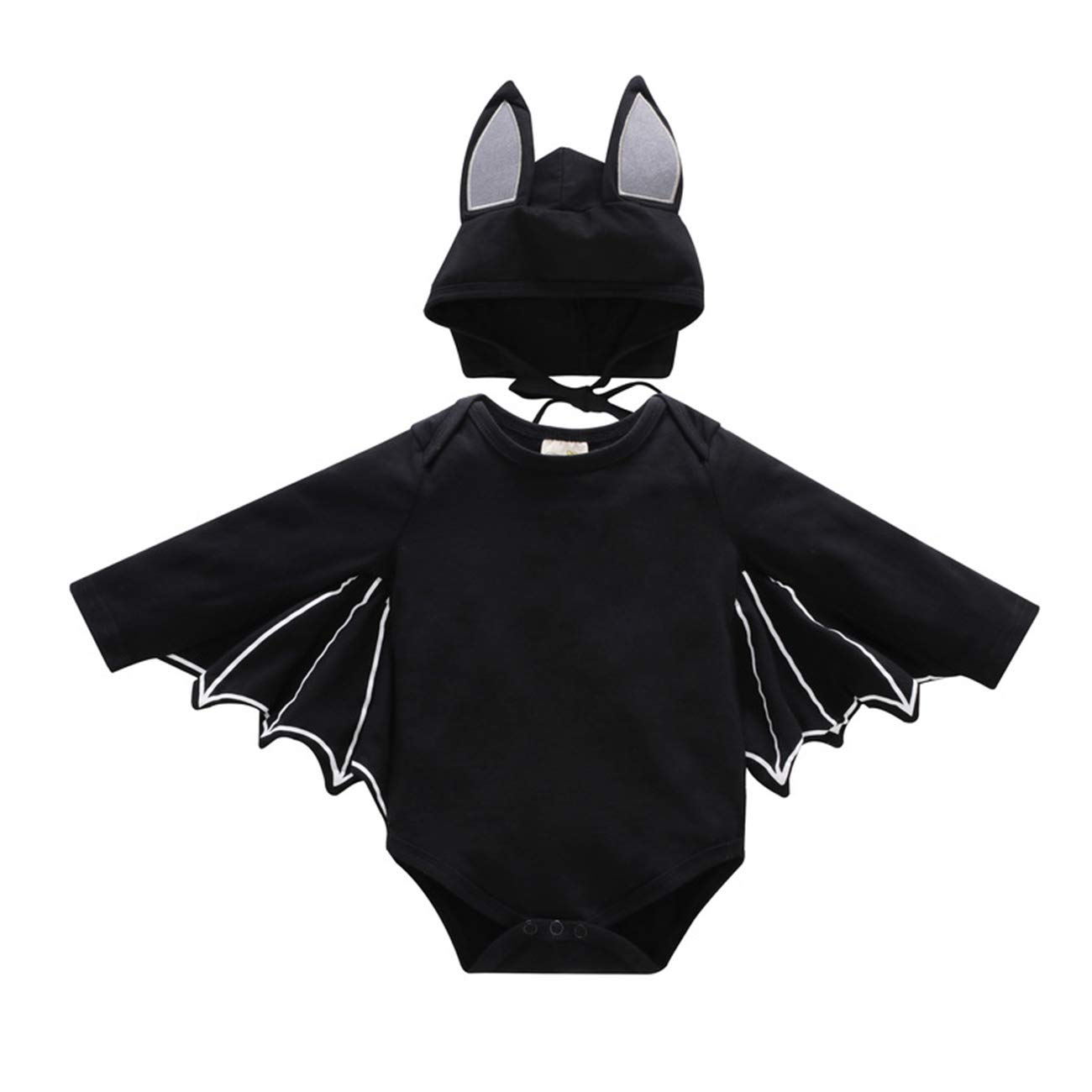 JIEEN Baby Girls Boys Halloween Costume Bat Sleeve Jumpsuit Hat 2 Pieces Set