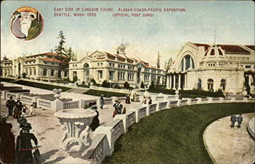 Side Cascade - East Side of Cascade Court, Alaska-Yukon-Pacific Exhibition, 1909 Original Vintage Postcard