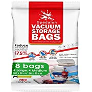 #LightningDeal 93% claimed: Vacuum Storage Bags - Pack of 8 - 4 Large (40x31) + 4 Medium (31x25) ReUsable space savers with free Hand Pump for travel packing - Best Seal Bags for Clothes, Comforters, Pillows, Curtains, Blankets