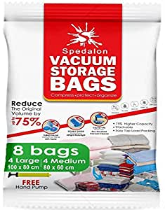 Vacuum Storage Bags - Pack of 8 (4 Large (100x80cm) + 4 Medium (80x60cm)) ReUsable space savers with free Hand Pump for travel packing. Best Sealer Bags for Clothes, Duvets, Bedding, Pillows, Blankets, Curtains