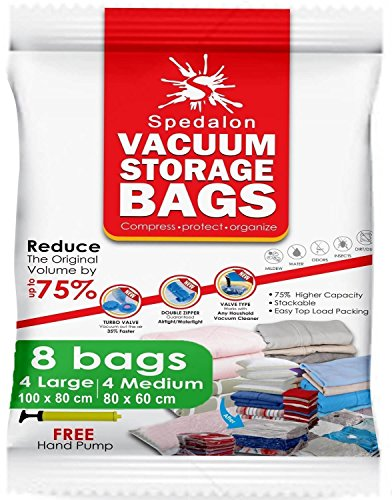 Vacuum Storage Bags - Pack of 8 | 4 Jumbo Large (40x31) + 4 Medium (31x25) ReUsable space saver + Hand Pump for travel packing - Best Seal Bags for Clothes, Comforters, Pillows, Curtains, Blankets