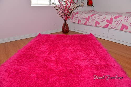 Hot Pink Mongolian Shag Sheepskin Area Rug Rectangle Pink Ultra Suede Backing 5 x 8 feet