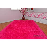 Hot Pink Mongolian Shag Sheepskin Area Rug Rectangle Pink Ultra Suede Backing (5 x 8 feet)