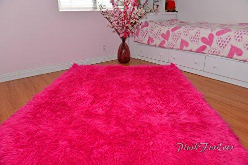 (Hot Pink Mongolian Shag Sheepskin Area Rug Rectangle Pink Ultra Suede Backing (5' x 8')