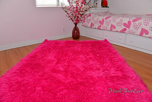Hot Pink Mongolian Shag Sheepskin Area Rug Rectangle Pink Ultra Suede Backing 5' x 8' feet