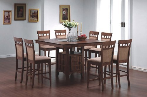 9pcs Counter Height Dining Table with Lazy Susan & 8 Stools Set