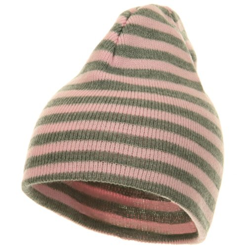 (Artex Trendy Striped Beanie - Pink Grey OSFM)
