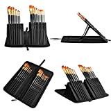 #5: Paint Brushes - 15 PCS Watercolor, Acrylic, Oil Paint Brush Set - Long Handled Wood, No-shedding with Light Travel Pop Up Stand Case - Best Variety of Shapes