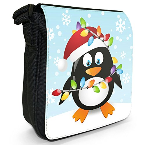 Shoulder Canvas Holiday Small Black Penguins Christmas Size Tangled Season Bag Lights In wqYWn1CO
