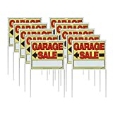 """Sunburst Systems 3905 Double-Sided Garage Sale Sign with Wire Stake (10 Pack), 22"""" x 14"""", Yellow/Red/Black"""