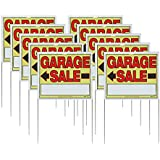"Sunburst Systems 22""H x 14""W Double-sided Garage Sale Signs with Wire U-Stakes, 10 Pack"