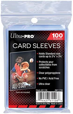 Ultra Pro 100 Pcs Soft Card Sleeves, 2 5/8 x 3 5/8-Inches Pack of one (Package would possibly range)