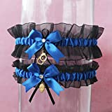 Customizable handmade - Police handcuffs and badge charms - Royal blue satin & black organza garter set