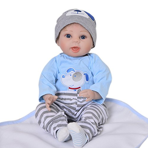 Realistic Reborn Baby Doll Soft Silicone 22''/55 cm Lifelike Simulation Dolls Babies Boy Kids Birthday Xmas Gift (3/4 Limbs 22')